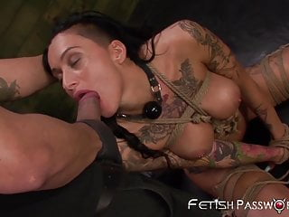 Inked nympho Alby Rydes dominated with huge latino cock