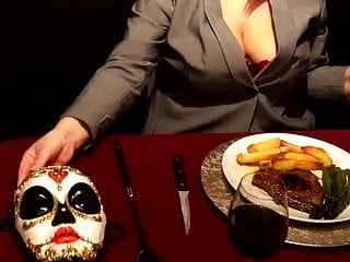 FLR Mistress and Femdom Sissy Indulge in Steak And BlowJob Day
