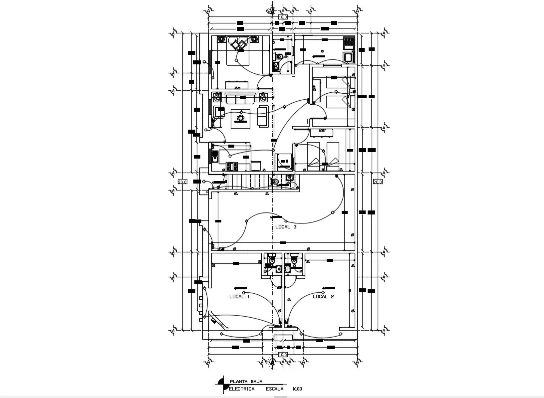 Electrical Layout Plan With Working And Furniture Cad File