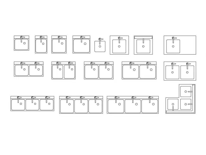 commercial sinks multiple designing