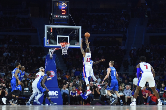 Oct 28, 2016; Auburn Hills, MI, USA; Detroit Pistons forward Marcus Morris (13) shoots during the game against the Orlando Magic at The Palace of Auburn Hills. Mandatory Credit: Tim Fuller-USA TODAY Sports