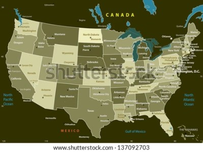 USA Map States Capital Cities Vector Stock Vector 137092703     USA map with states and capital cities  Vector illustration