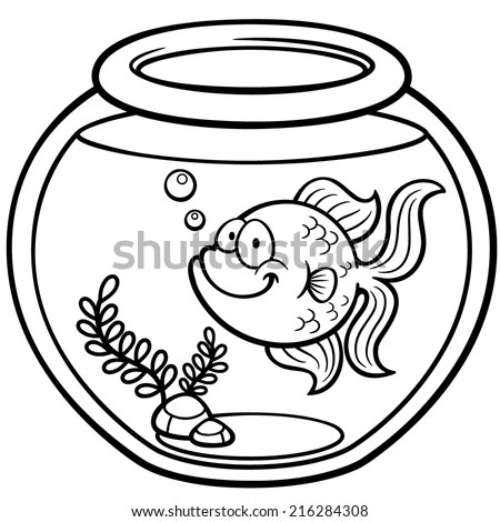 coloring pages of fishbowl