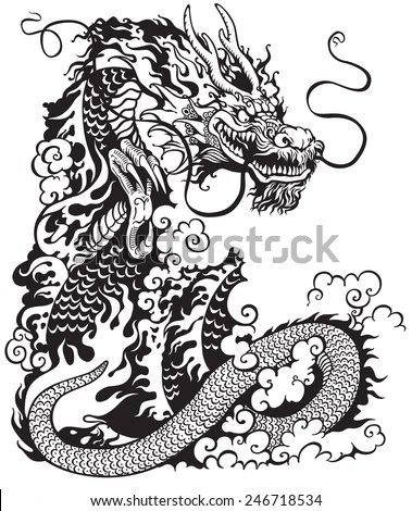 chinese dragon black and white tattoo illustration stock vector
