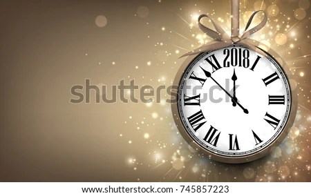 2018 New Year Sepia Background Clock Stock Vector  Royalty Free     2018 New Year sepia background with clock  Vector illustration
