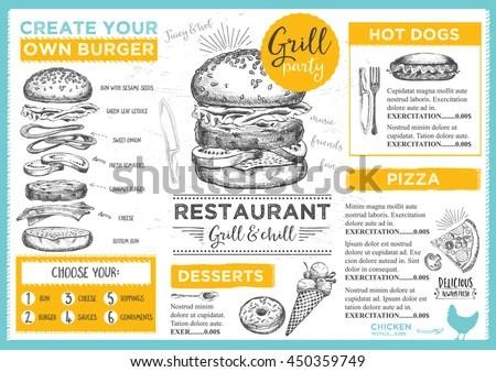 Menu Placemat Food Restaurant Brochure Menu Stock Vector
