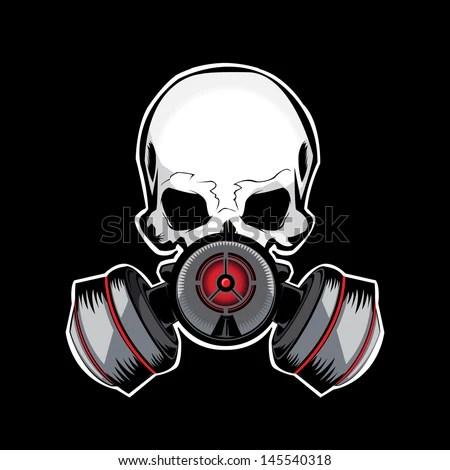 Skull Gas Mask Illustration - stock vector