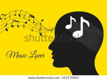 music from brain yellow background, music notes, music lover, music vector