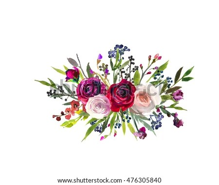 Floral Bouquet Burgundy Red Purple Pink Stock Photo  Royalty Free     Floral bouquet burgundy red purple pink watercolor flowers and leaves  bouquet fall autumn wedding or baby