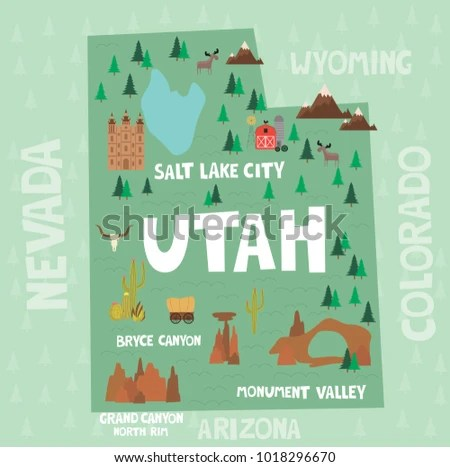 Illustrated Map State Utah United States Stock Vector  Royalty Free     Illustrated map of the state of Utah in United States with cities and  landmarks  Editable