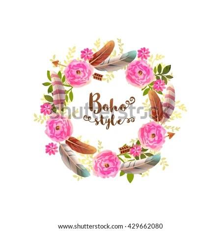 Boho Style Watercolor Flowers Arrows Feathers Stock Vector 437124076 Shutterstock