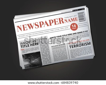 Half Newspaper Template Headline Illustration Isolate Stock     Half of newspaper template with headline  illustration isolate