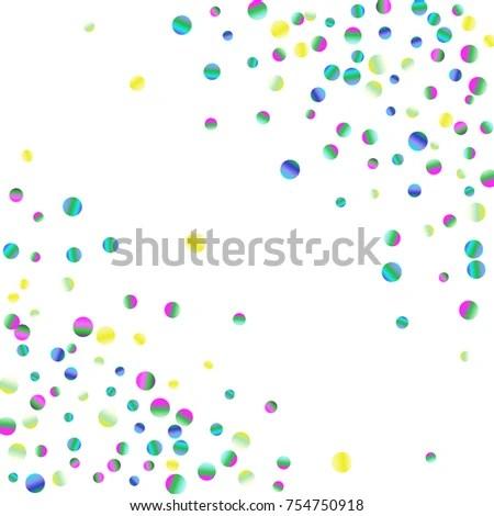 Watercolor Rainbow Colored Confetti Falling Down Stock