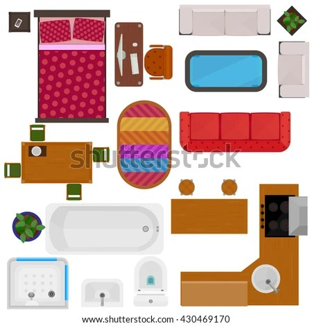 Top View Of Home Furniture Decorative Icons With Bed Sofa Chair Desk Table Kitchen Set Bath