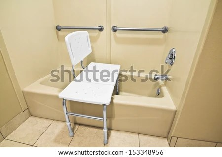 Bathing Chair Helps Disabled Handicap Use Stock Photo