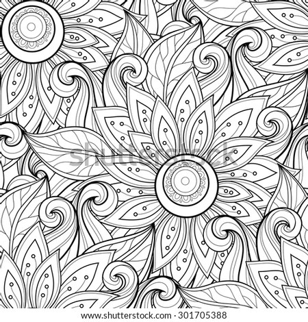 pattern hand drawn floral texture decorative flowers coloring book
