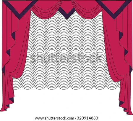 Classic Curtains Drawn Vector Making Stock