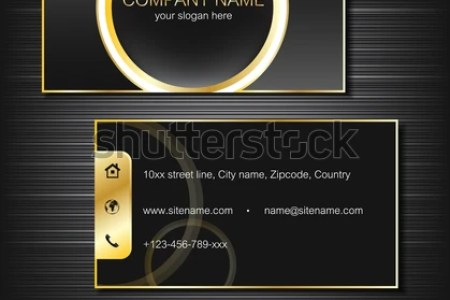 Business Card Template Gold Lines Front Stock Vector  Royalty Free     Business card template with gold lines  front and back side  vector  illustration