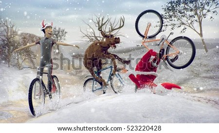 Funny Bad Santa Claus On Bicycle Stock Illustration