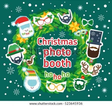 Christmas Santa Photo Booth Vector Props Stock Vector