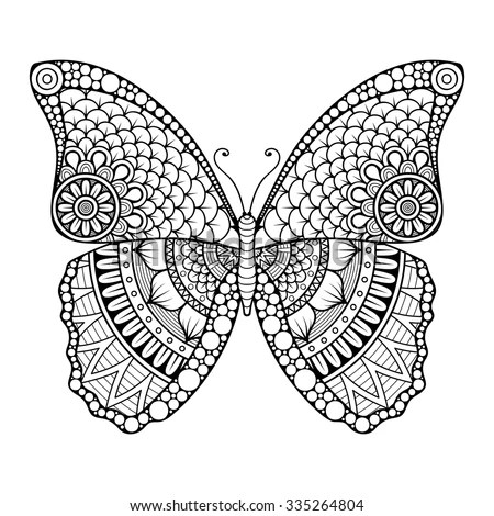 butterfly vintage decorative elements with mandalas oriental pattern