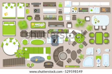 Icons Set Interior Top View Isolated Stock Vector