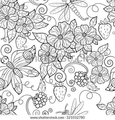 butterfly pattern flowers coloring pages for adults stock vector