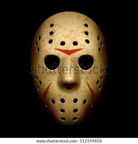 Scary hockey mask. Vector. - stock vector