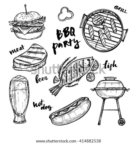 Vector Vintage Fast Food Drawing Set Stock Vector