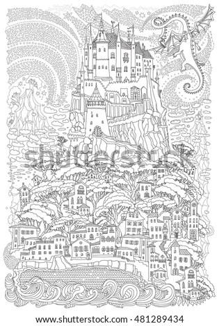 Fantasy Landscape Fairy Tale Castle On Stock Vector