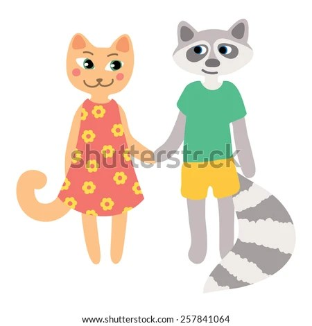 Cute Cartoon Characters Couple Happy Mice Stock Vector