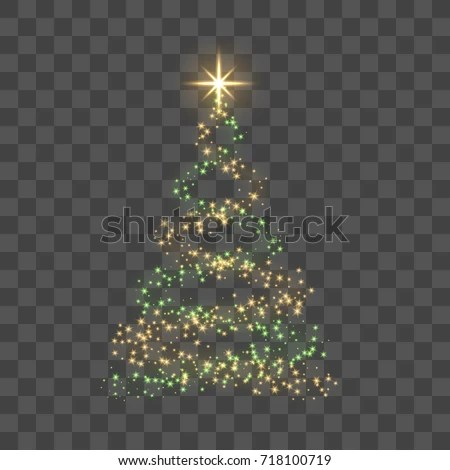 Christmas Tree On Transparent Background Gold Stock Vector