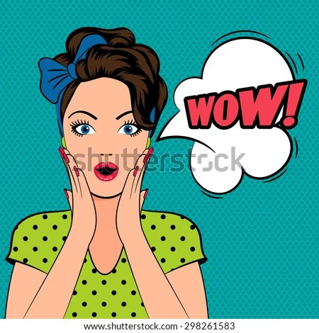 WOW bubble pop art surprised woman face with open mouth