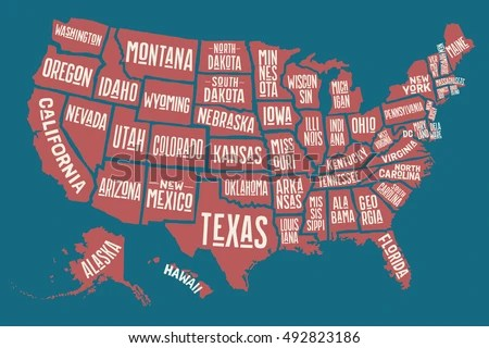 Poster Map United States America State Stock Illustration 492823186     Poster map of United States of America with state names  Print map of USA  for