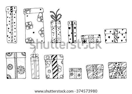Hand Drawn Icons Gifts Bows Cartoon Stock Vector 363310322