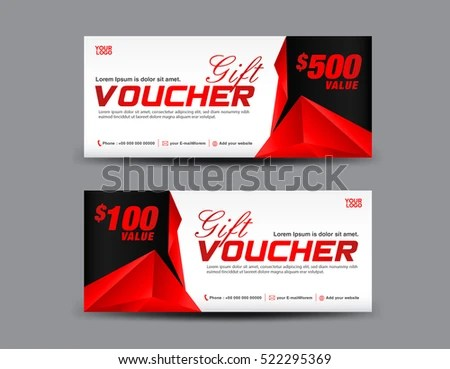 Gift Voucher Template Coupon Design Red Stock Vector 522295369     Gift Voucher template  coupon design  Red Gift certificate  ticket  polygon  background