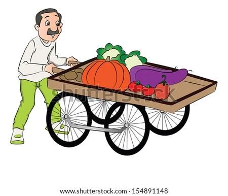 Vector illustration of vendor pushing vegetable cart ... (450 x 386 Pixel)