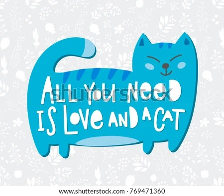 Download Cat Quotes Calligraphy Lettering Set On Stock Vector ...