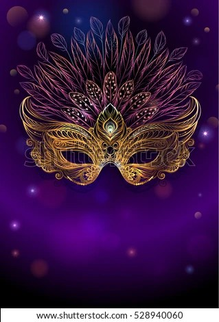 Golden Carnival Mask Feathers Beautiful Concept Stock