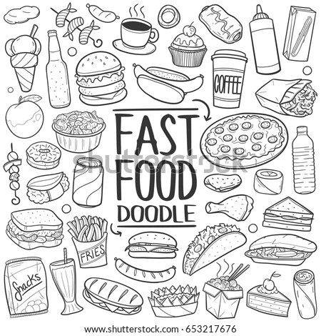 Fast Food Doodle Icons Hand Made Stock Vector 653217676