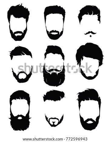 Set Hairstyles Men Collection Black Silhouettes Stock