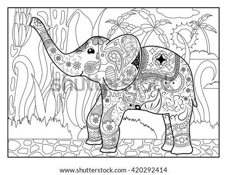 jungle coloring page mandala style elephant horizontal coloring page
