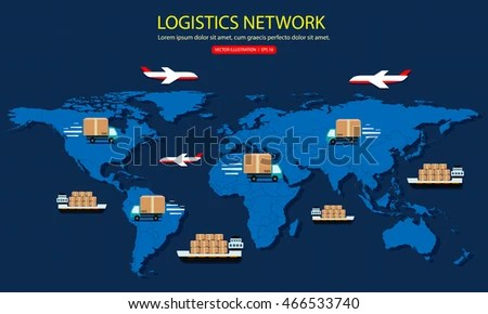 Global Logistics Network Delivery Around World Stock Vector  Royalty     Global logistics network  Delivery around the world  Vehicles designed to  carry large numbers cargo