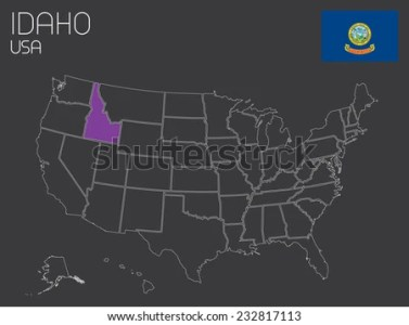 Map United States America One State Stock Vector 232817113     A Map of the the United States of America with one state selected   Idaho