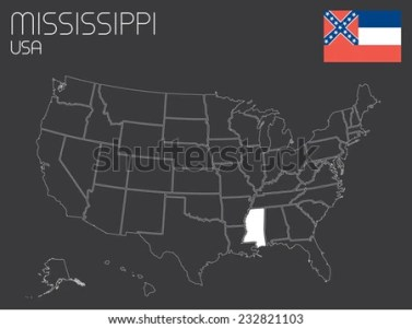 Map United States America 1 State Stock Vector 232821103   Shutterstock A Map of the the United States of America with 1 state selected    Mississippi