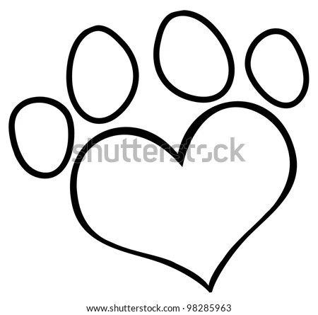 Download Outlined Love Paw Print Vector Illustration Stock Vector ...