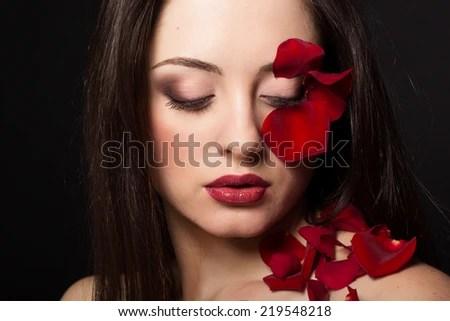 Beautiful Woman Flowers Her Hair Stock Photo 119402317