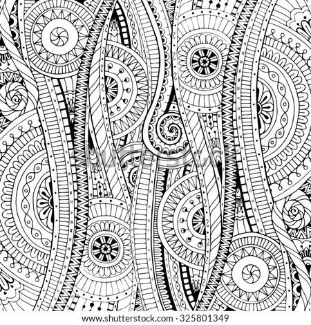 Doodle Background Vector Doodles Flowers Paisley Stock