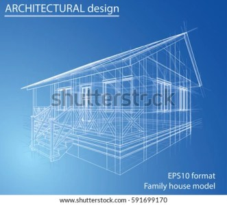 Blueprint House Wireframe Style 3 D Rendering Stock Vector 591699170     Blueprint of house  Wire frame style  3D rendering Vector Illustration