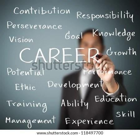 business man writing career concept